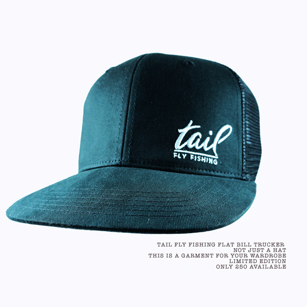 Flat bill trucker cap - black - tail fly fishing