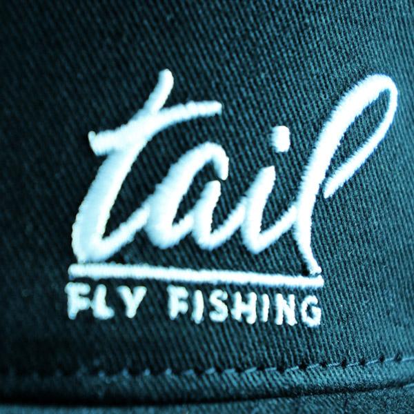 flat bill trucker cap - tail fly fishing magazine - close up
